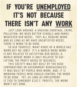unemployment not any work