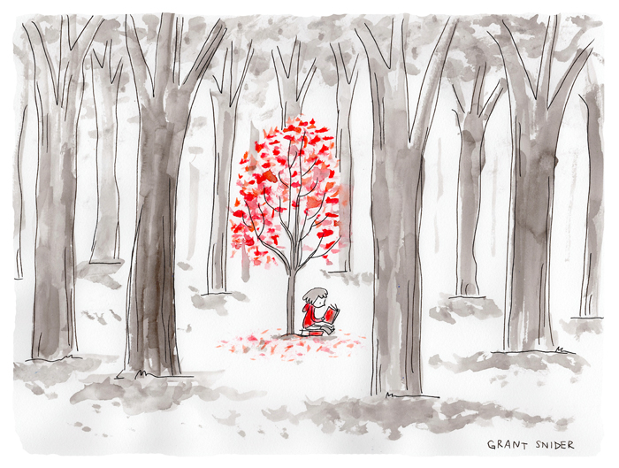 Reading red book under tree of red leaves