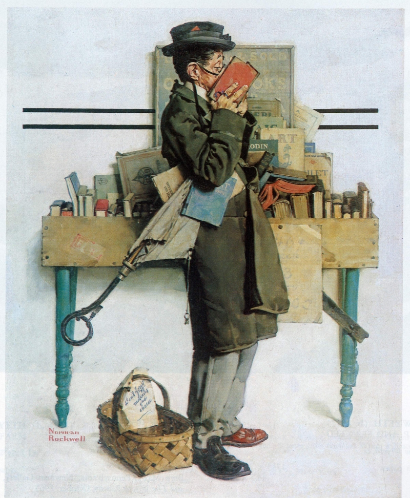 Norman Rockwell bookworm reading book