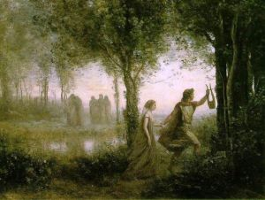 Orpheus Leading Eurydice from the Underworld Painting by Jean-Baptiste-Camille Corot 1861